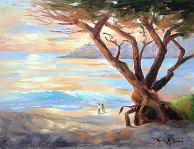 Iconic Painting - Carmel Beach Winter Sunset II by Karin  Leonard