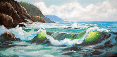 Painting - Carmel California Pacific Ocean Seascape Painting by Bob and Nadine Johnston