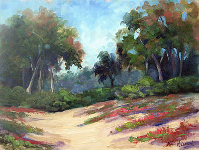 Oil Painting - Carmel Dunes by Karin  Leonard