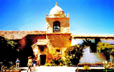 Carmel Mission Painting - Carmel Mission Bell Tower by Jerry Grissom