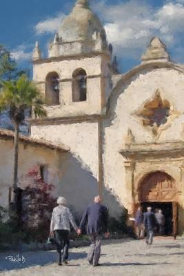 Digital Art - Carmel Mission Chapel - Carmel Ca by Jim Pavelle