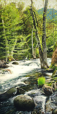 Mountains Painting - Carmel River Upper Watershed by Logan Parsons