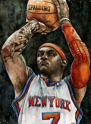 Patrick Ewing Painting - Carmelo Anthony by Michael  Pattison