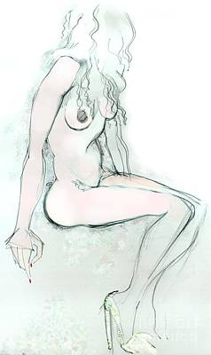 Drawing - Carmen As Pussy L'amour - Female Nude by Carolyn Weltman