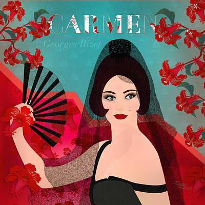 Digital Art - Carmen - Limited Edition 1 Of 15 by Gabriela Delgado