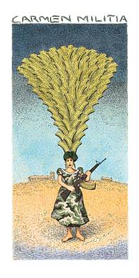 Woman In Hat Drawing - Carmen Militia by John O'Brien