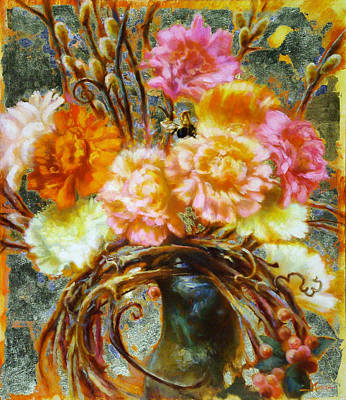 Carnation And Bee Art Print by John Murdoch