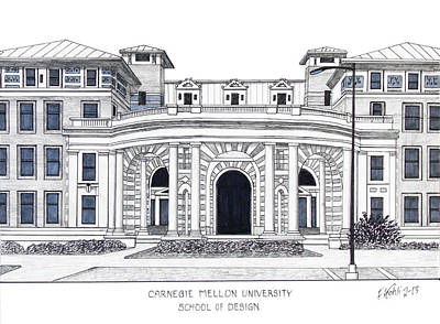Drawing - Carnegie Mellon University by Frederic Kohli