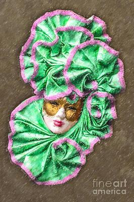 Digital Art - Carnevale Mask by Liz Leyden