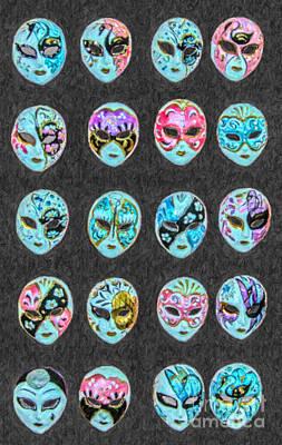 Digital Art - Carnevale Masks by Liz Leyden