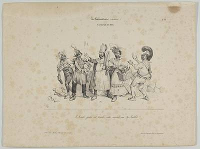 Victor Drawing - Carnival De 1830 From La Caricature by Victor Adam