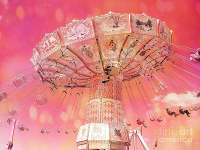 Surreal Pink Carnival Photograph - Carnival Ferris Wheel Hot Pink Surreal Fantasy Ferris Wheel Carnival Art Hot Pink by Kathy Fornal