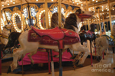 Carnival Festival Merry Go Round Carousel Horses  Art Print by Kathy Fornal