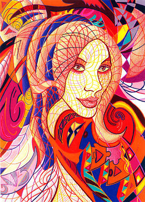 Abstract Shapes Drawing - Carnival Girl by Danielle R T Haney