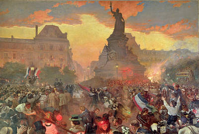Bastille Photograph - Carnival In Paris In Honour Of The Russian Navy, 5th October 1893, 1900 Oil On Canvas by Leon Bakst