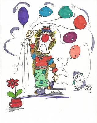 Balloon Flower Drawing - Carnival by Philip Blanche