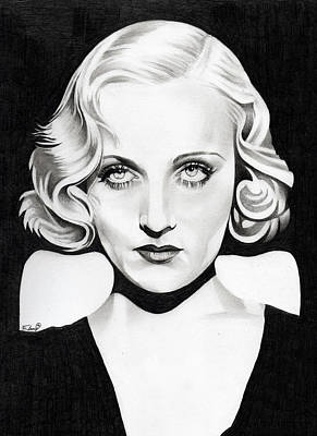Platinum Drawing - Carole Lombard by Fred Larucci