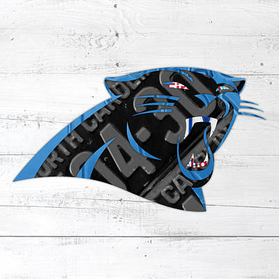 North Carolina Mixed Media - Carolina Panthers Football Team Retro Logo Recycled North Carolina License Plate Art by Design Turnpike