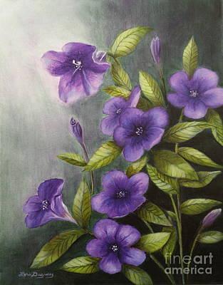 Painting - Carolina Wild Petunia Ruellia Caroliniensis by Lora Duguay
