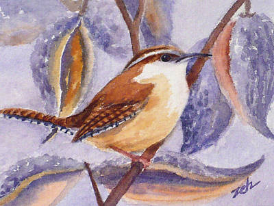 Painting - Carolina Wren And Milkweed Pods by Janet Zeh