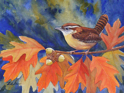 Painting - Carolina Wren In Autumn by Janet  Zeh