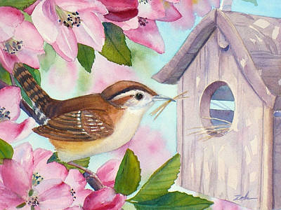Painting - Carolina Wren In Springtime by Janet Zeh