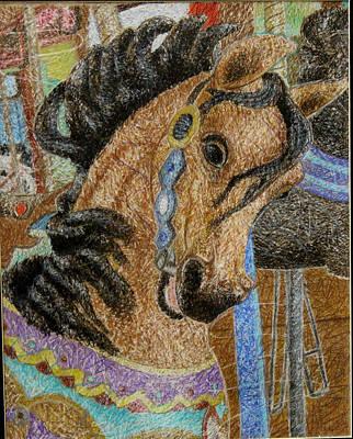 Merry-go-round Drawing - Carousel by Amanda Fosnight