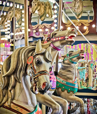Carousel At Casino Pier Print by Colleen Kammerer