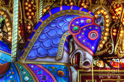 Photograph - Carousel Beauty Blue Charger by Bob Christopher