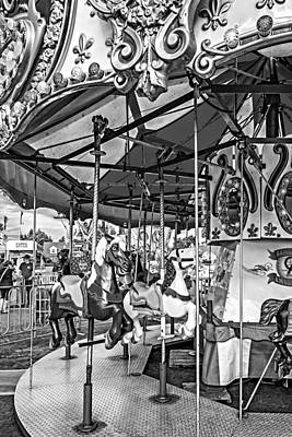 Pleasure Horse Photograph - Carousel - Bw by Steve Harrington