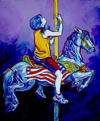 Carousel Horse Painting - Carousel by Derrick Higgins