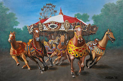 Carousel Escape At The Park Art Print