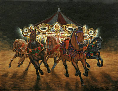 Carousel Escape At Night Art Print