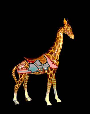 Wooden Platform Mixed Media - Carousel Giraffe by Charles Shoup