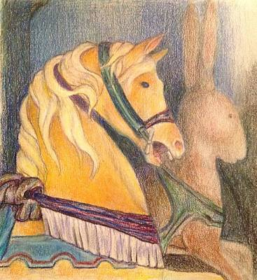 Merry-go-round Painting - Carousel Horse At Glen Echo Park by Lin-Lin Mao