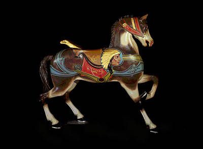 Wooden Platform Mixed Media - Carousel Horse Glen Echo by Charles Shoup