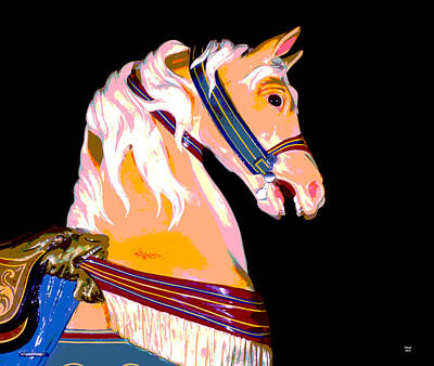 Wooden Platform Mixed Media - Carousel Horse Glen Echo Park by Charles Shoup