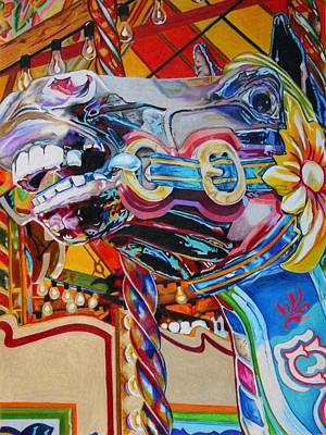 Merry-go-round Drawing - Carousel Horse by Mary Strehl