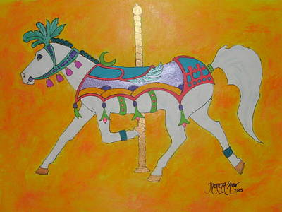 Carousel Horse   Art Print by Theresa Shaw