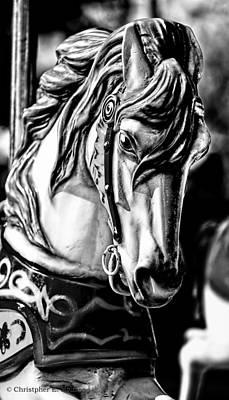 Carousel Horse Two - Bw Art Print