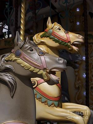 Carousel Horses Art Print by Bernard Jaubert