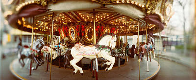 Carousel Horses In An Amusement Park Art Print by Panoramic Images