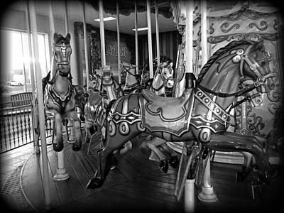 Photograph - Carousel Horses In Black And White by Alice Gipson