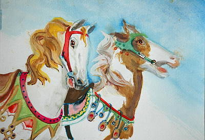 Painting - Carousel  Horses by Jolyn Kuhn