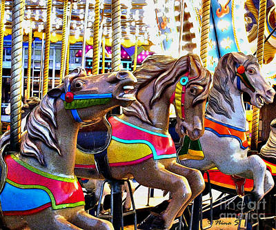 Photograph - Carousel Horses by Nina Silver