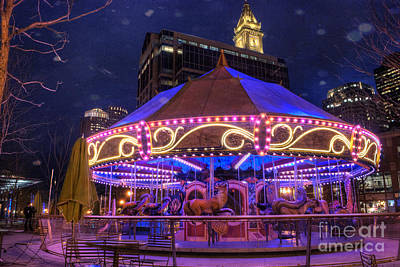 The Clock Photograph - Carousel In Boston by Juli Scalzi