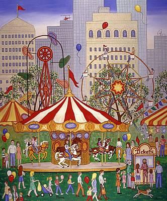 Carousel In City Park Art Print by Linda Mears