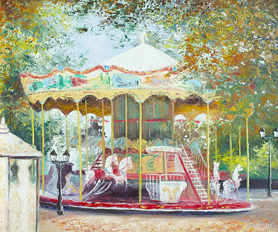 Carousel In Montmartre Paris Art Print