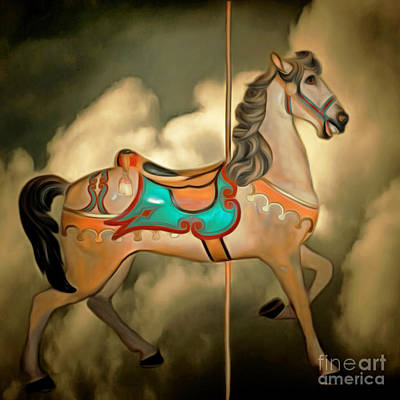 Fantasy Surreal Horse Photograph - Carousel In The Sky 20150226 Square by Wingsdomain Art and Photography