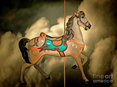 Fantasy Surreal Horse Photograph - Carousel In The Sky 20150226 by Wingsdomain Art and Photography